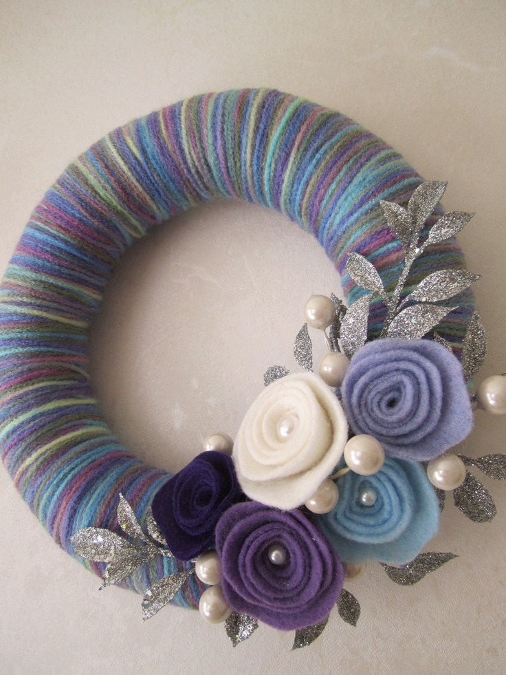 "Purple Blue Yarn Wreath 8"". $24.00, via Etsy."