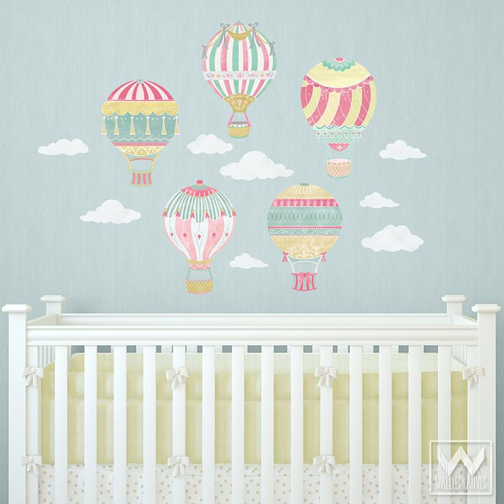 Hot air balloons removable wall decals removable wall for Room decor 5d stickers