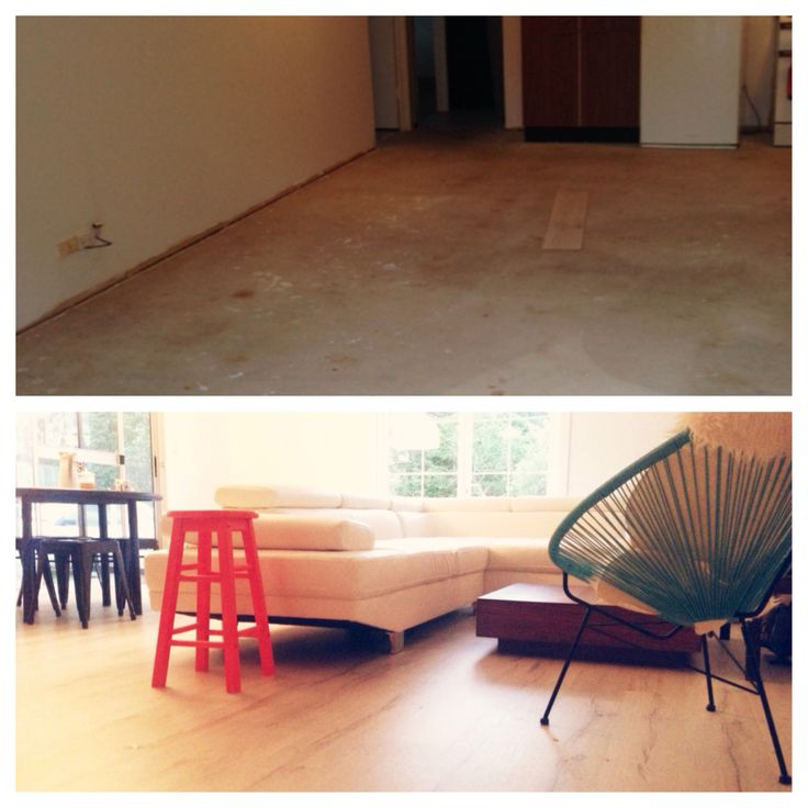 We finally got to floor board the house. White floor boards are my new favourite thing! Above is a before and after shot.