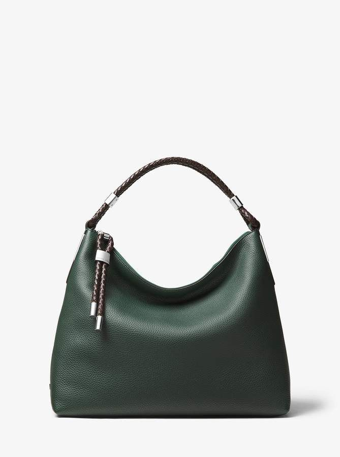 4b84f9050fa4 Michael Kors Collection Skorpios Small Pebbled Leather Shoulder Bag -  Forest Green