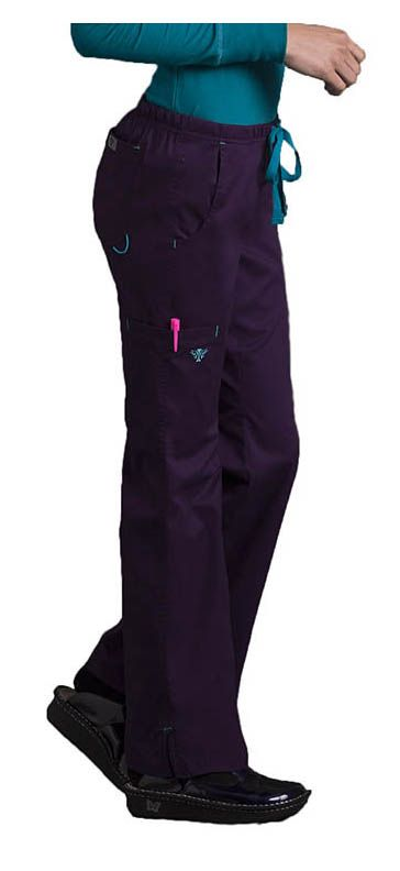 These pants have lots of sporty details and a little bit of stretch. Color featured here: Eggplant/Teal.