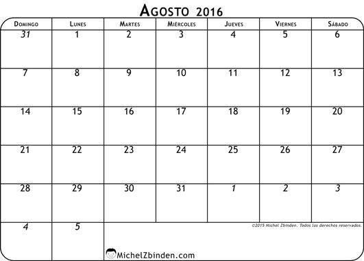 calendario agosto 2016 libre de imprimir Clásico domingo Mundo