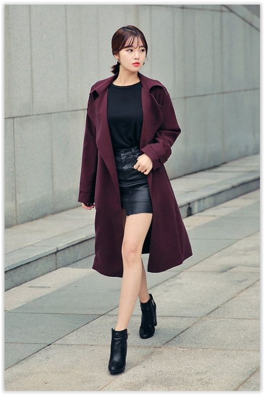 HOTPING - Epaulette-Shoulder Open-Front Trench Coat With Sash
