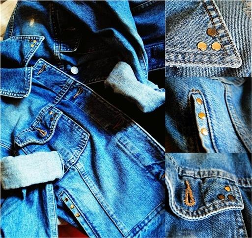 Giacca in Jeans borchiata.