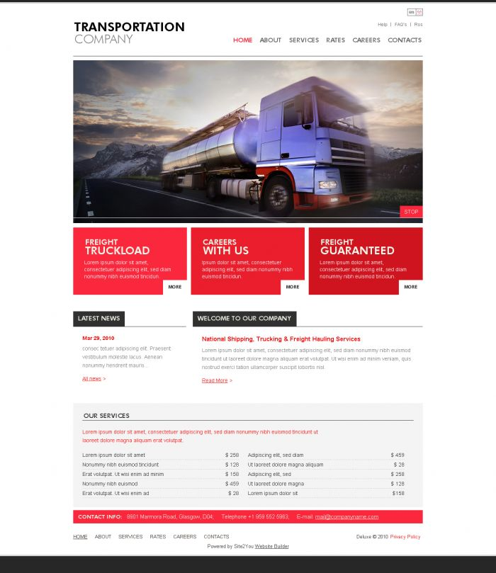trucking and transport company web design idea 03