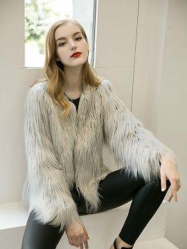 Gray Collarless Faux Fur Coat