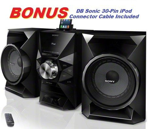 awesome Sony 470 Watt Powerful Hi-Fi Stereo Sound System with MP3 CD Player, AM & FM Radio, 30 Preset Stations, Remote Control, Digital Time Display, Alarm Clock, Sleep Timer, Child Lock, 8 Band Equalizer, Bass Boost, 2-way Bass Reflex Speakers, Auxiliary Input Jack, Lightning Dock & USB Input to Play & Charge all iPods, iPhones, iPads & Other Audio Devices or Record to Flash Drives *BONUS* DB Sonic iPod Connector Cable Included…