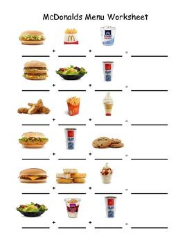 Printables Menu Math Worksheets 1000 images about menu math worksheets on pinterest songs 15 pages 4 restaurants