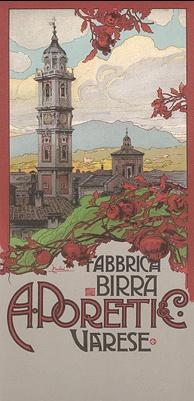 """""""Fabbrica Birra Poretti"""" by Ludovico Cavaleri. From """"Ricordi Portfolio,"""" a serie of greatest Italian posters printed between 1895 & 1914."""