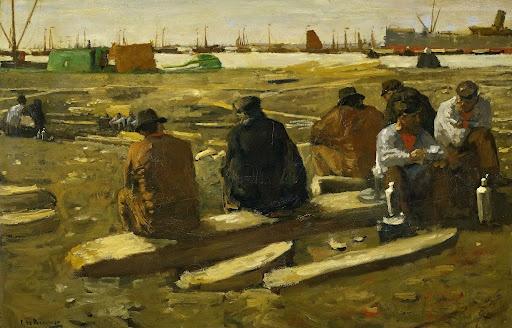 Schafttijd in de bouwput aan de van Diemenstraat te Amsterdam., George Hendrik Breitner, 1896 - 1900