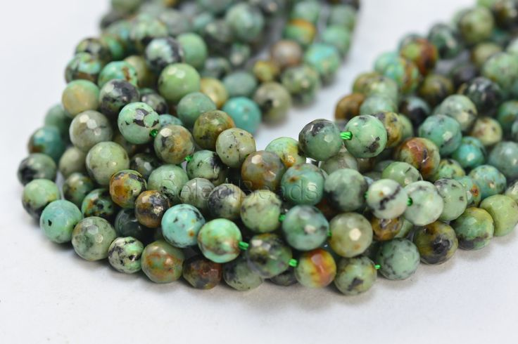 natural African turquoise gemestone - wholesale gemstone beads - stone beads for statement jewelry design - faceted 6mm round beads -15 inch