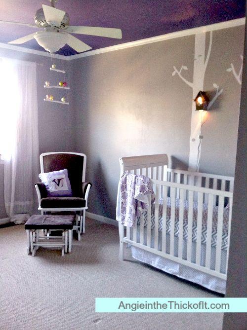 purple ceiling nursery gray walls woodland theme