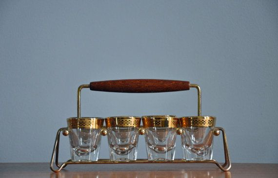 MidCentury Shot Glasses with Caddy by elementvintage on Etsy, $56.00