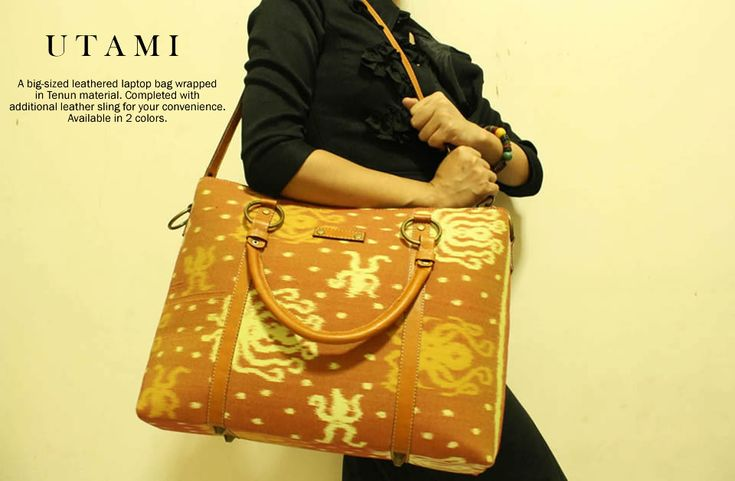 Utami Laptop Bag wrapped in tenun material, completed with leather handle.  djokdjabatik.com