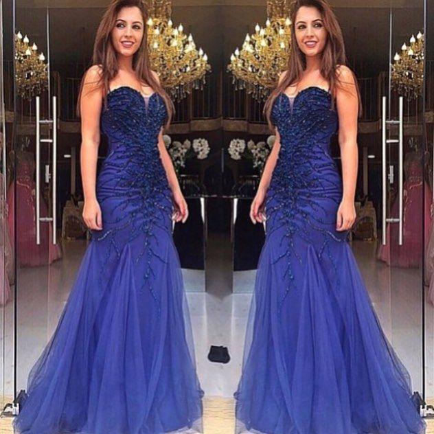 Royal Blue Prom Dresses,Royal Blue Prom Dress,Silver Beaded