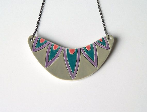 Geometric ceramic statement necklace by islaclay on Etsy