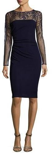 David Meister Long-Sleeve Jersey Illusion Cocktail Dress in Dark Navy {worn by Melody Thomas Scott's Nikki ♥ The Young + The Restless}
