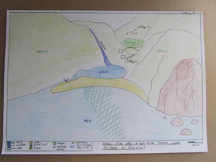 Croquis d'une plage de type corse (librement inspirée du paysage de Pisciu Cane (Golfe de Ventilègne/ Figari)