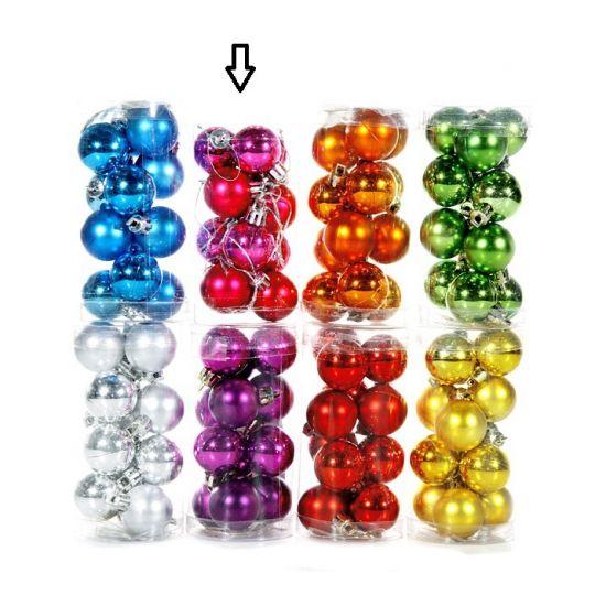 Plastic Kerstballen roze 12 stuks 3 cm  Roze kerstballen 12 stuks. Deze set met fuchsia roze kerstballen bestaat uit 6 matte en 6 glimmende kerstballen. Doorsnede: 3 cm. Materiaal: Plastic.  EUR 2.99  Meer informatie