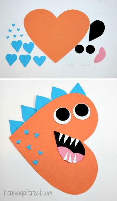 Heart Dinosaur - Valentines Craft for Kids