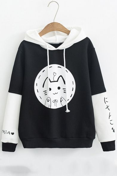 Drawstring Hood Japanese Cat Print Color Block Long Sleeve Hoodie in 2019  b0a58aea0623
