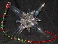 Handblown Glass Star with Swarovski Crystals & Beaded Cord (Red & Green)