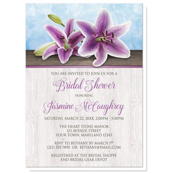 Pretty Floral Wood Purple Lily Bridal Shower Invitations