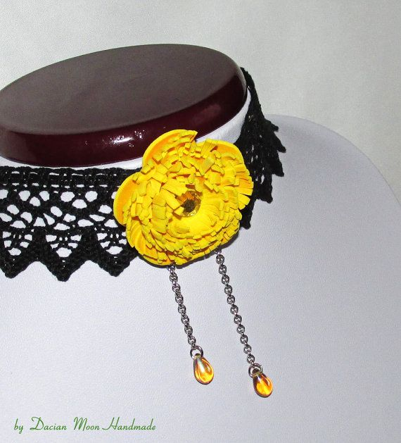 Chrysanthemum necklace flower necklace by DacianMoonHandmade