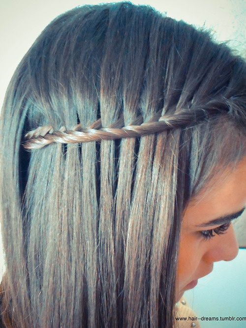 Fishtail Waterfall Braid - I want to learn to this but can't find a tutorial.