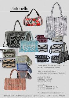 Fashion Notes by Cris: Antonello Tedde Handbags Sample Sale