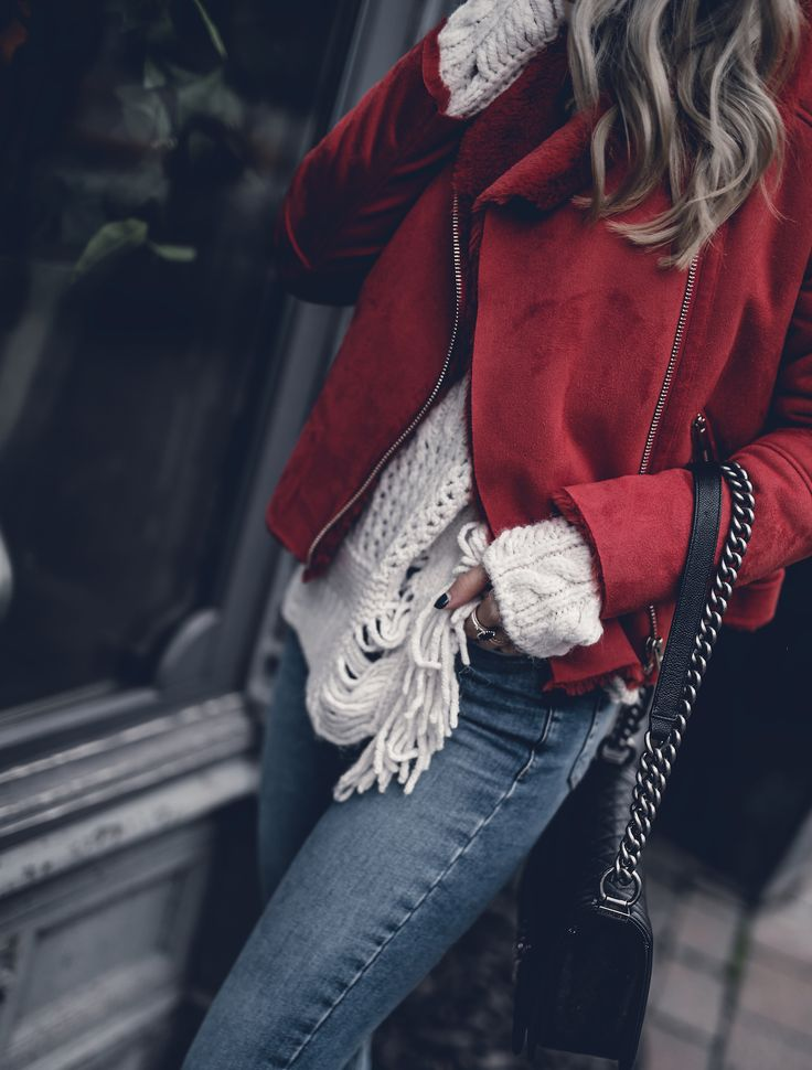 Red Jacket River Island Outfit 2017 Street Style Winter Casual Look   Want Get Repeat Fashion Blog
