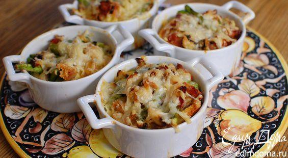 Asparagus, mushroom.and bacon bake/Спаржа с грибами и беконом под сырной корочкой