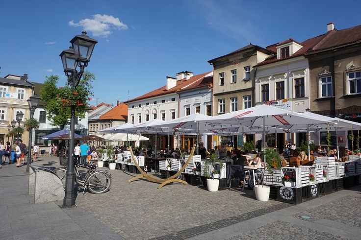 Summer in Bielsko-Biala, Poland. The Old Town Square is the most popular place to socialize.