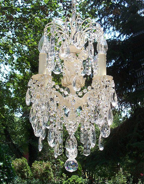 Beautiful Jeweled Shabby Vintage Cherub Waterfall Crystal Chandelier-Etsy