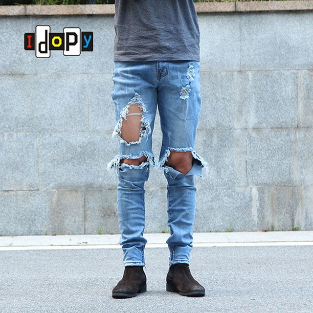 We love it and we know you also love it as well Urban Cool Mens Side Ankle Zipper Jeans Skinny Stretchy Destroyed Distressed Knee Ripped Jeans With Holes For Men just only $23.82 with free shipping worldwide  #jeansformen Plese click on picture to see our special price for you