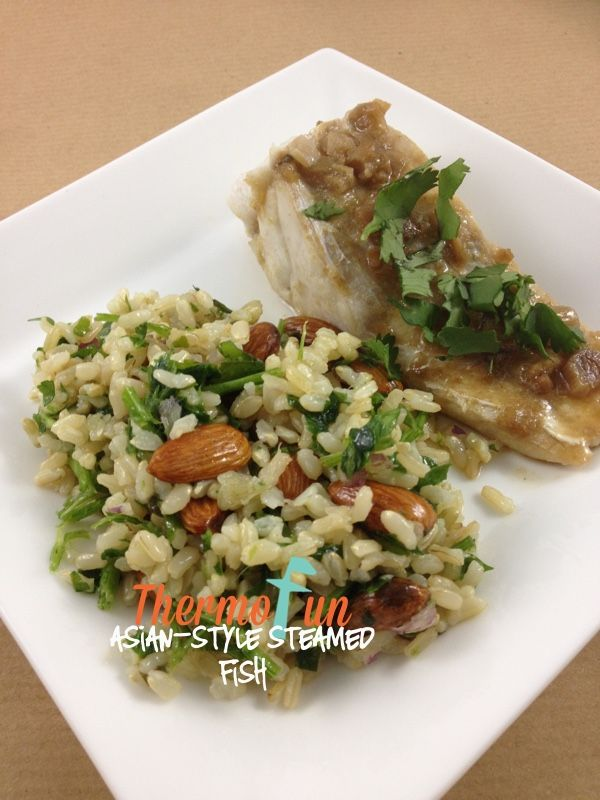 Brown Rice and Almond Tabouli with steamed fish