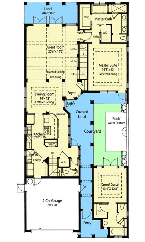 Narrow House Plan With Courtyard on narrow courtyard design, narrow house plans with front porch, narrow house plans with carport, narrow house plans with balcony, narrow house plans with rear garage, narrow house plans with loft, narrow house plans with stairs,