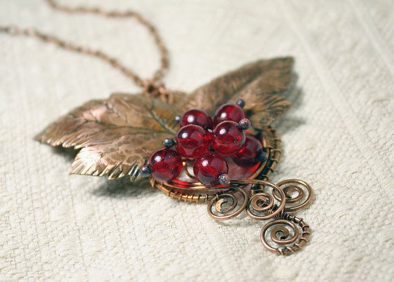 Copper pendant Red currant - Handmade copper pendant with Czekh beads - Red Berries pendant -
