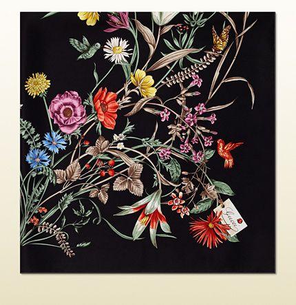 Gucci - flower print silk foulard 3714443G0017564