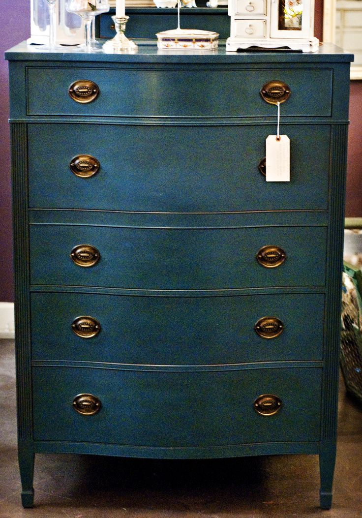 Beautiful vintage dresser painted with Chalk Paint® decorative paint by Annie Sloan in Aubusson Blue with clear & dark wax.  www.nottooshabbyshop.com