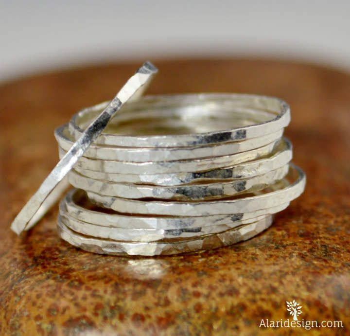 Super Thin Fine Silver Stacking Ring: These Rings are Minimal & Simple - Dainty Hammered Pure Silver Bands. Rustic, Understated Luxury. - Delicate hammered silver ring. - I generally recommend these r
