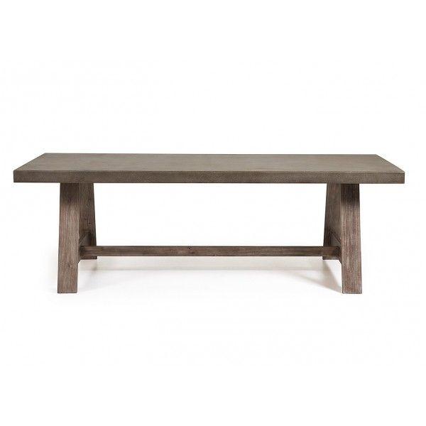 Un tavolo fisso importante di grande dimensione per l'esterno o l'interno per accogliere tanti ospiti dal design semplice ma raffinato con il piano caratteristico in polycemento grigio scuro