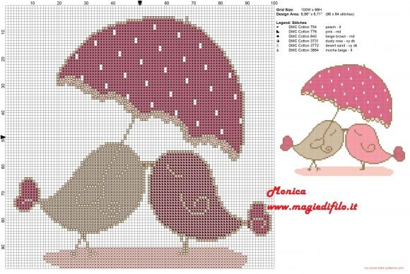 Birds in love cross stitch pattern