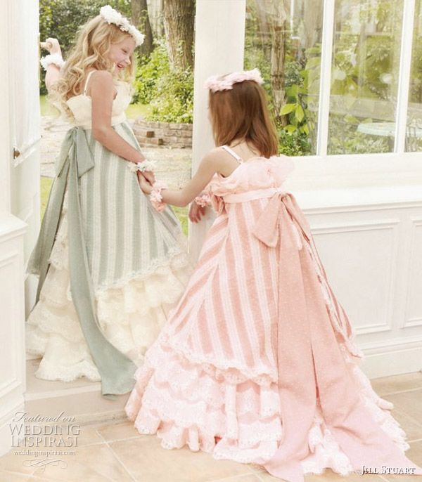 Flower girls in pretty green, white and pink stripe dresses