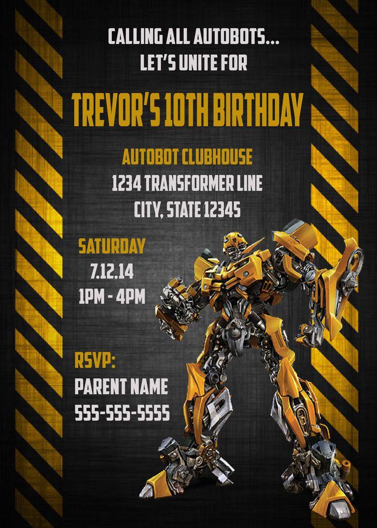 $10 - Transformers Bumble Bee Birthday Invitation