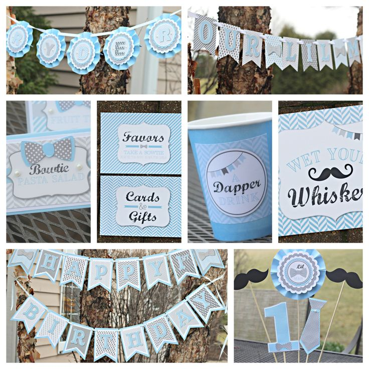 invitation words forst birthday party%0A Little Man   Bowtie Birthday Party decorations    piece party decor box   Blue and