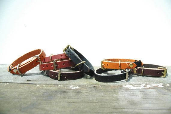 Custom Leather Cat Collar by HunterPassLeather on Etsy, $32.00