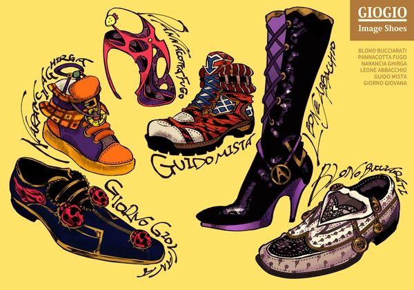 The gang as shoes!   Jojo bizzare