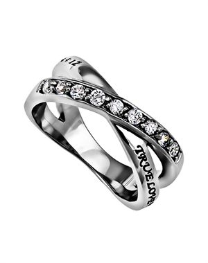"""Stainless steel, high polished, twin band ring. One ring has 9 set cubic zirconium stones covering one half side. Second ring has black scripture engraving reading, True Love Waits – 1 Tim. 4:12 True Love Waits – 1 Tim. 4:12"""". This is a solid one piece ring."""