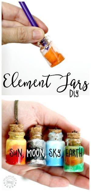 Potinhos dos elementos. Mini colares com elementos da natureza. Faça você mesmo